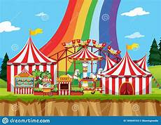 Malvorlagen Regenbogen Am Himmel Zirkus Szene Mit Regenbogen Am Himmel Vektor Abbildung