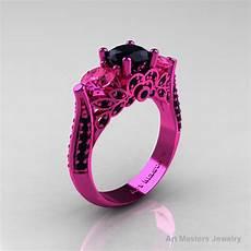 classic 14k pink gold three stone black diamond pink