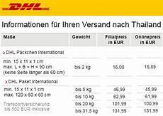 thailand dhl paket luftpost preise speditionen postal