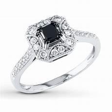 black white diamond ring 5 8 ct tw princess cut 10k white gold 99097830499