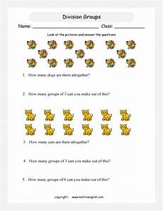 basic division worksheets for grade 1 6757 dogs and cats in groups of 3 and 6 use the pictures count all animals and divide them in