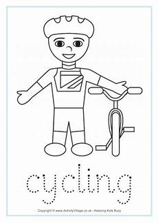 sports tracing worksheets 15881 cycling