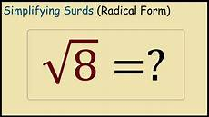 what is square root 8 in simplest radical form youtube