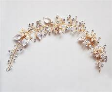 Gold Bridal Headband Pearl And Leaf Headband Bridal