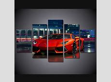 5 Panels Red Sports Car Group Artwork   Multi Canvas Art