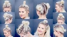 10 easy different bun hairstyles for short hair milabu youtube