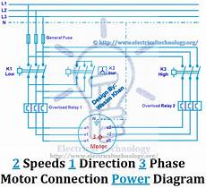 2 speed electric motor wiring diagram 2 speeds 1 direction 3 phase motor power and control diagrams