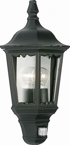 ryedale black 60w mains powered external pir lantern departments diy at b q