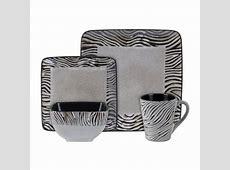 Gibson Mountain Zebra 16 pc Dinnerware set (Square)