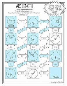 geometry worksheets circles high school 653 this arc length maze is composed of 11 circles with arc measures in either degrees or radia
