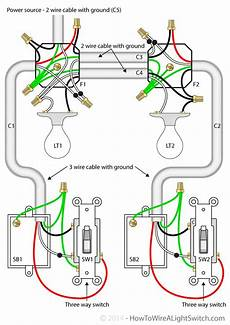 two lights between 3 way switches with the power feed via