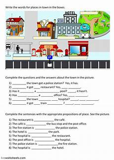 worksheets for places to live 15996 places in town interactive worksheet