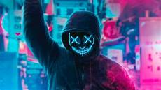 Neon Mask Wallpaper 4k