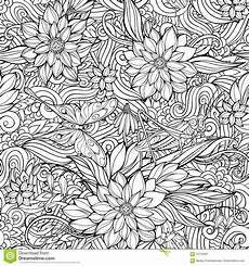 coloring page with seamless pattern of flowers