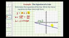 ex 2 find the equation of a line in slope intercept form given the graph of a line youtube