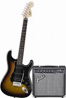 squier stratocaster by fender squier by fender affinity strat hss pack sunburst w frontman 15g lifier ebay