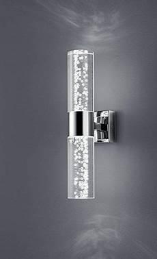 trio leuchten led bathroom wall light chrome clear acrylic with bubbles 282410206 co
