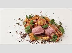 duck breast with passion fruit sauce and crushed new potatoes_image
