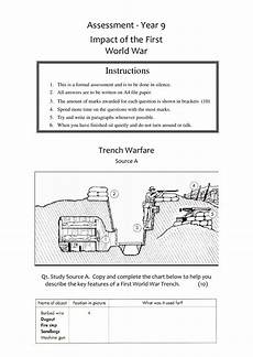 wwi source assessment worksheet year 9 ks3 lesson resource