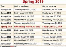 when is spring 2019 2020 dates of spring