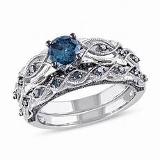 1 ct t w enhanced blue diamond vintage style bridal in 10k white gold engagement rings