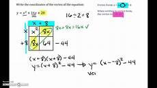 how to put a quadratic equation into vertex form by