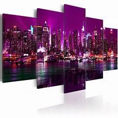 leinwand bilder kunstdruck wandbild new york violett