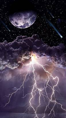 moon asteroids storm clouds lightning android wallpaper