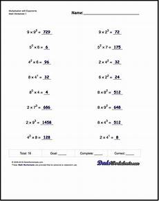 practice exponents worksheets introducing exponent syntax calculation of simple exponents