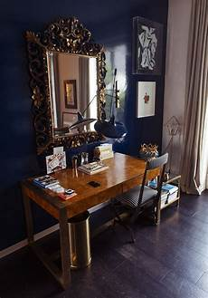 elegant home office furniture navy laquer is used in this small but elegant home office