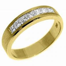 mens 1 carat princess square cut diamond ring wedding band 14kt yellow gold ebay