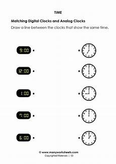 matching digital and analog clock worksheet 10