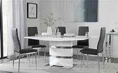 Esstisch Hochglanz Grau - komoro white high gloss dining table 4 6 renzo grey chairs
