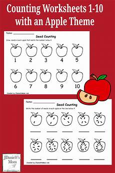 counting numbers worksheets 1 10 7986 counting worksheets 1 10 with an apple theme