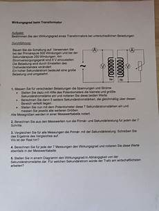 phyisk protokoll transformator wirkungsgrad wie schule