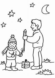 Schule Und Familie Ausmalbild Drucken Ausmalbild Silvester Vater Und Sohn Beim Feuerwerk
