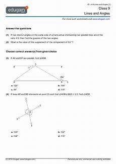 geometry worksheets grade 9 607 grade 9 math worksheets and problems lines and angles edugain usa