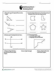 geometry revision worksheets 871 math review part 3 geometry galore worksheet education