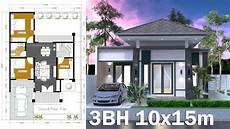 10x15m home design plan one story house 3 bedroom sketchup design youtube