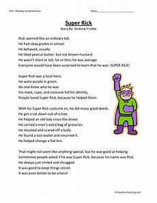 comprehension worksheets 15452 reading comprehension worksheet rick
