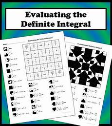 evaluating the definite integral color worksheet by aric tpt