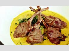 lamb chops with a curry cream sauce or rack of lamb_image