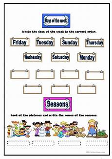 worksheets seasons and days of the week 14784 weather months days of the week seasons worksheet free esl printable worksheets made by