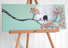 Leinwand Malen Ideen - original canvas painting bird painting mint and coral