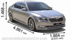 Skoda Superb Abmessungen - dimensions of škoda cars showing length width and height