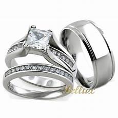 his and hers wedding rings sets princess cut rings set matching band ebay