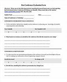 free 9 conference evaluation forms in ms word pdf excel