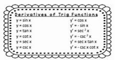 derivatives of trig functions worksheet and sticker