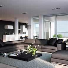 wohnzimmer einrichten ideen in wei 223 schwarz und grau