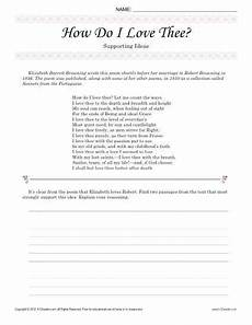 poetry analysis worksheet 8th grade 25524 how do i thee supporting ideas 8th grade reading reading passages reading